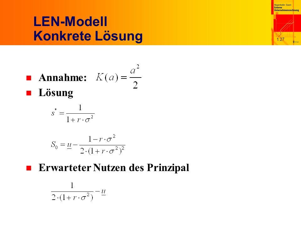 1.27 LEN-Modell Konkrete Lösung n Annahme: n Lösung n Erwarteter Nutzen des Prinzipal