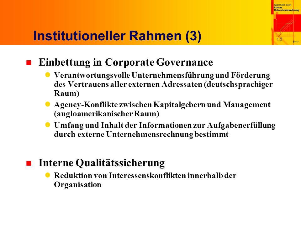 1.9 Institutioneller Rahmen (3) n Einbettung in Corporate Governance Verantwortungsvolle Unternehmensführung und Förderung des Vertrauens aller extern