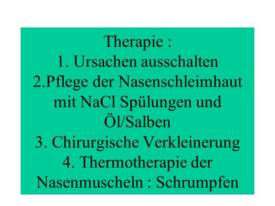 Therapie : 1. Ursachen ausschalten 2.Pflege der Nasenschleimhaut mit NaCl Spülungen und Öl/Salben 3. Chirurgische Verkleinerung 4. Thermotherapie der