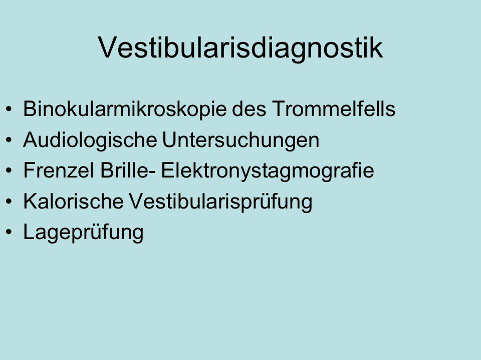 Vestibularisdiagnostik Binokularmikroskopie des Trommelfells Audiologische Untersuchungen Frenzel Brille- Elektronystagmografie Kalorische Vestibulari