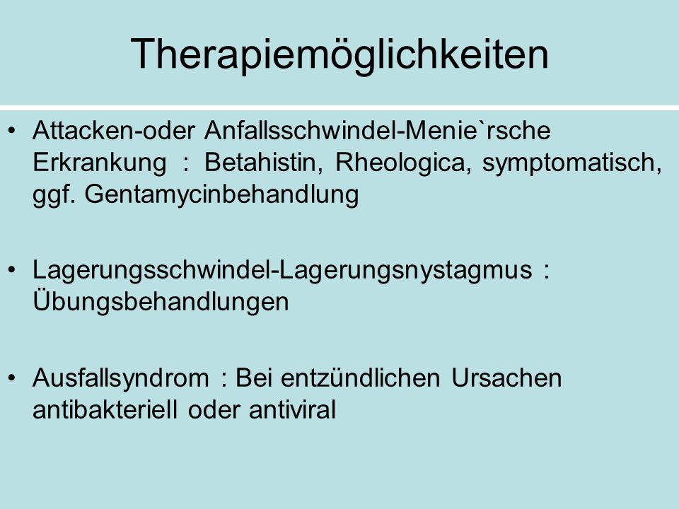 Therapiemöglichkeiten Attacken-oder Anfallsschwindel-Menie`rsche Erkrankung : Betahistin, Rheologica, symptomatisch, ggf. Gentamycinbehandlung Lagerun