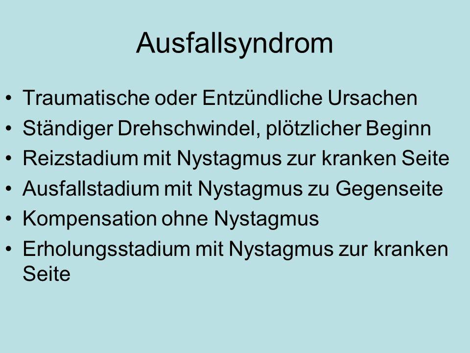 Ausfallsyndrom Traumatische oder Entzündliche Ursachen Ständiger Drehschwindel, plötzlicher Beginn Reizstadium mit Nystagmus zur kranken Seite Ausfall