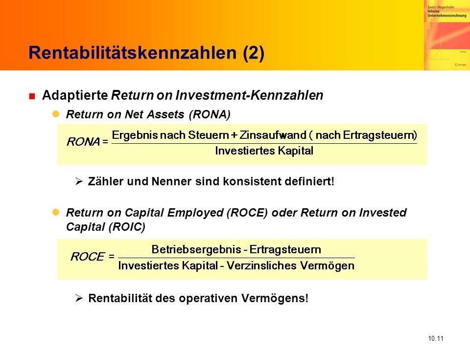 10.11 Rentabilitätskennzahlen (2) n Adaptierte Return on Investment-Kennzahlen Return on Net Assets (RONA) Zähler und Nenner sind konsistent definiert.