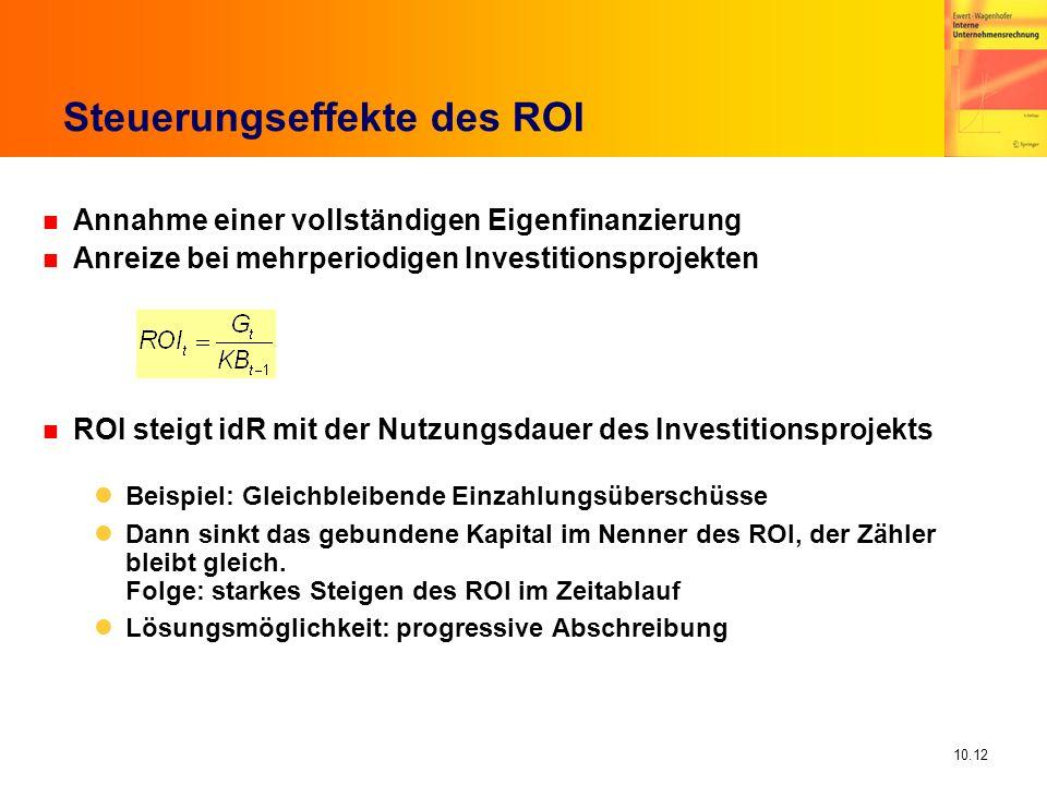 10.12 Steuerungseffekte des ROI n Annahme einer vollständigen Eigenfinanzierung n Anreize bei mehrperiodigen Investitionsprojekten n ROI steigt idR mit der Nutzungsdauer des Investitionsprojekts Beispiel: Gleichbleibende Einzahlungsüberschüsse Dann sinkt das gebundene Kapital im Nenner des ROI, der Zähler bleibt gleich.