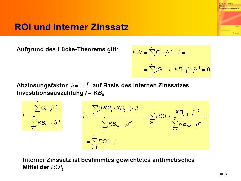10.14 ROI und interner Zinssatz Abzinsungsfaktor auf Basis des internen Zinssatzes Investitionsauszahlung I = KB 0 Interner Zinssatz ist bestimmtes gewichtetes arithmetisches Mittel der ROI t.
