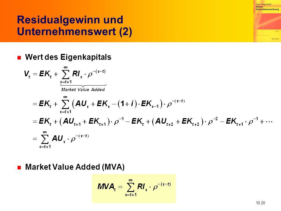 10.20 n Wert des Eigenkapitals n Market Value Added (MVA) Residualgewinn und Unternehmenswert (2)