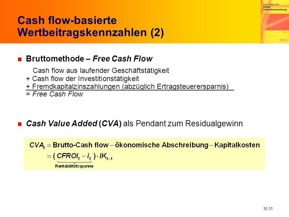 10.31 Cash flow-basierte Wertbeitragskennzahlen (2) n Bruttomethode – Free Cash Flow Cash flow aus laufender Geschäftstätigkeit + Cash flow der Investitionstätigkeit + Fremdkapitalzinszahlungen (abzüglich Ertragsteuerersparnis) = Free Cash Flow n Cash Value Added (CVA) als Pendant zum Residualgewinn