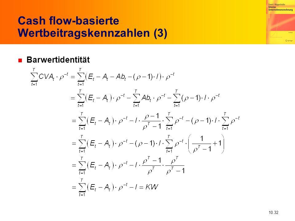 10.32 Cash flow-basierte Wertbeitragskennzahlen (3) n Barwertidentität