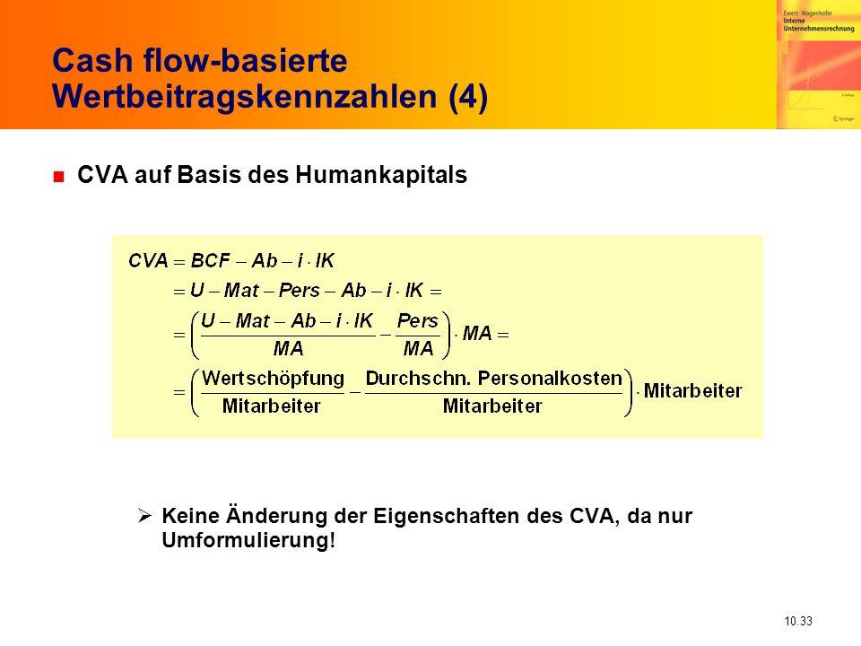 10.33 Cash flow-basierte Wertbeitragskennzahlen (4) n CVA auf Basis des Humankapitals Keine Änderung der Eigenschaften des CVA, da nur Umformulierung!