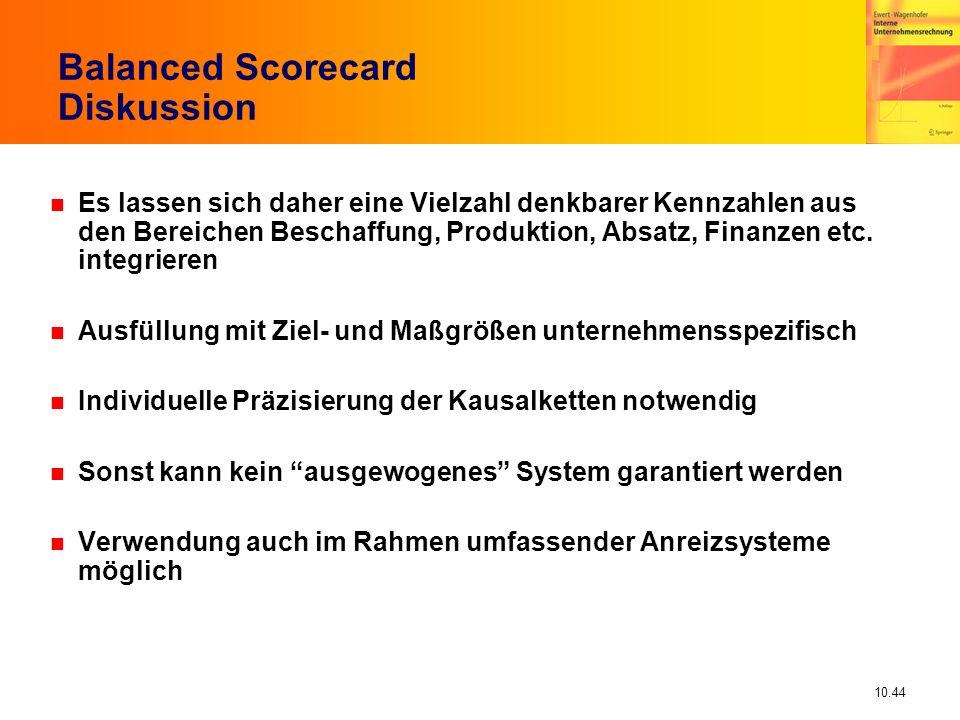 10.44 Balanced Scorecard Diskussion n Es lassen sich daher eine Vielzahl denkbarer Kennzahlen aus den Bereichen Beschaffung, Produktion, Absatz, Finanzen etc.