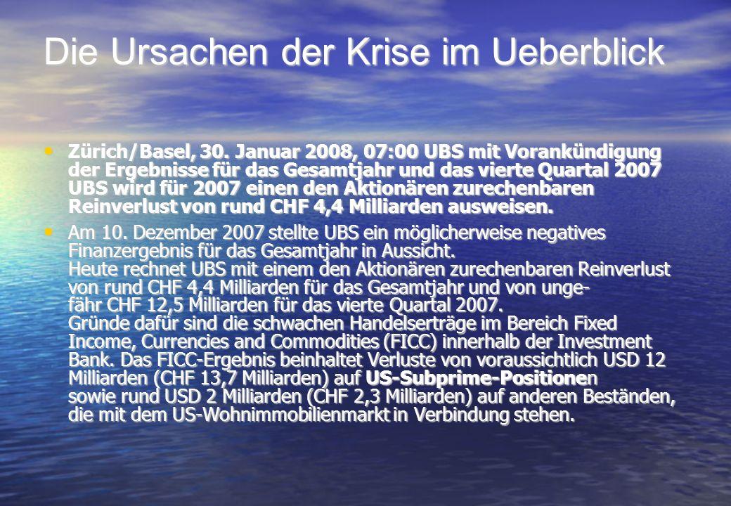 Zürich/Basel, 30. Januar 2008, 07:00 UBS mit Vorankündigung der Ergebnisse für das Gesamtjahr und das vierte Quartal 2007 UBS wird für 2007 einen den