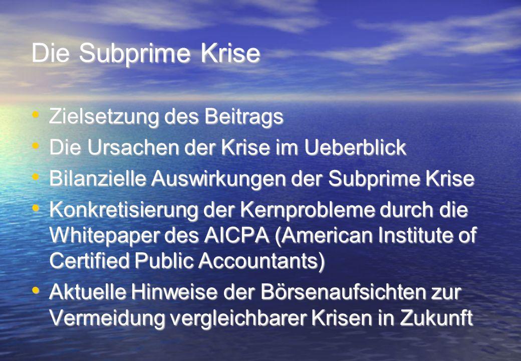 Die Subprime Krise Zielsetzung des Beitrags Zielsetzung des Beitrags Die Ursachen der Krise im Ueberblick Die Ursachen der Krise im Ueberblick Bilanzi