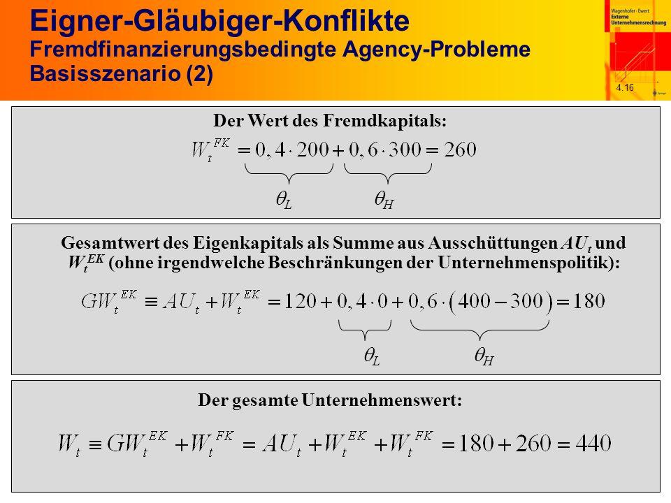 4.16 Eigner-Gläubiger-Konflikte Fremdfinanzierungsbedingte Agency-Probleme Basisszenario (2) Der Wert des Fremdkapitals: L H Gesamtwert des Eigenkapit