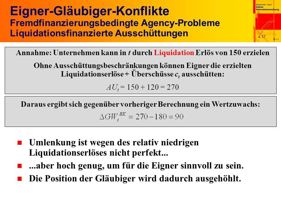 4.17 Eigner-Gläubiger-Konflikte Fremdfinanzierungsbedingte Agency-Probleme Liquidationsfinanzierte Ausschüttungen n Umlenkung ist wegen des relativ niedrigen Liquidationserlöses nicht perfekt...