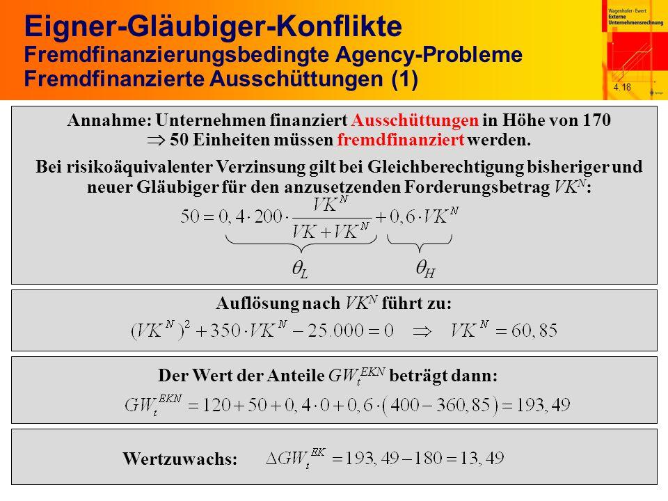 4.18 Eigner-Gläubiger-Konflikte Fremdfinanzierungsbedingte Agency-Probleme Fremdfinanzierte Ausschüttungen (1) L H Annahme: Unternehmen finanziert Aus