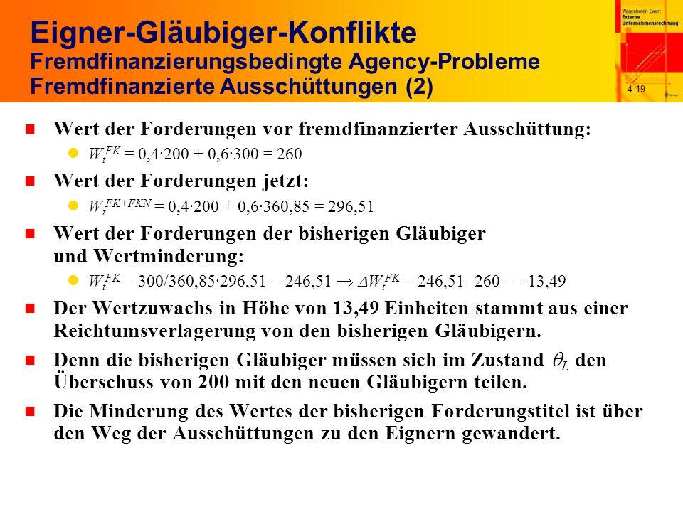4.19 Eigner-Gläubiger-Konflikte Fremdfinanzierungsbedingte Agency-Probleme Fremdfinanzierte Ausschüttungen (2) n Wert der Forderungen vor fremdfinanzierter Ausschüttung: W t FK = 0,4·200 + 0,6·300 = 260 n Wert der Forderungen jetzt: W t FK+FKN = 0,4·200 + 0,6·360,85 = 296,51 n Wert der Forderungen der bisherigen Gläubiger und Wertminderung: W t FK = 300/360,85·296,51 = 246,51 W t FK = 246,51 260 = 13,49 n Der Wertzuwachs in Höhe von 13,49 Einheiten stammt aus einer Reichtumsverlagerung von den bisherigen Gläubigern.