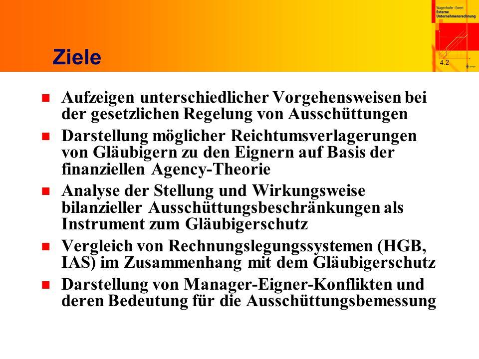 4.13 Ausschüttungsregelung in USA Fazit n Vage Verankerung von Ausschüttungsbegrenzungen im Gesellschaftsrecht n Versuch, Eigner-Gläubiger-Konflikte im Rahmen privater Kreditverträge zu lösen Restriktionen in Kreditverträgen basieren größtenteils auf Zahlen der Rechnungslegung damit hat auch in den USA Rechnungslegung eine gläubigerschützende Funktion n Keine dem deutschen Recht vergleichbare Kompetenzabgrenzung bezüglich der Manager-Eigner- Konflikte Festlegung der Ausschüttung unterliegt gänzlich der Verwaltung des Unternehmens