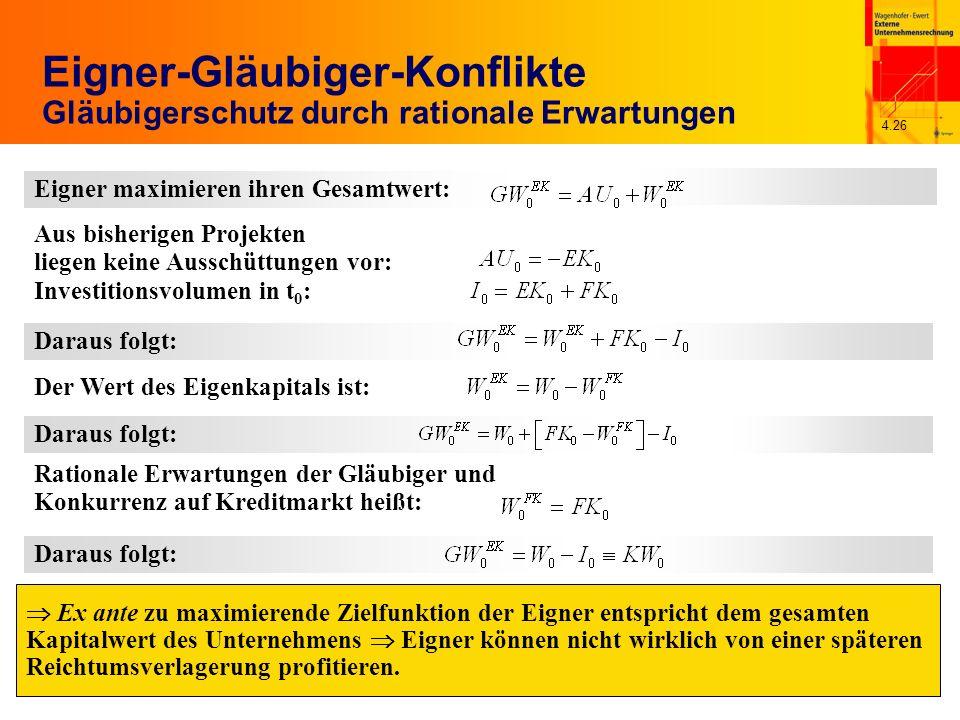 4.26 Eigner-Gläubiger-Konflikte Gläubigerschutz durch rationale Erwartungen Ex ante zu maximierende Zielfunktion der Eigner entspricht dem gesamten Ka