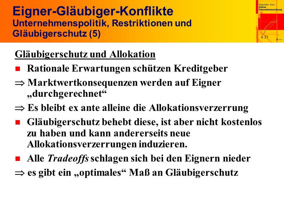 4.31 Eigner-Gläubiger-Konflikte Unternehmenspolitik, Restriktionen und Gläubigerschutz (5) Gläubigerschutz und Allokation n Rationale Erwartungen schü