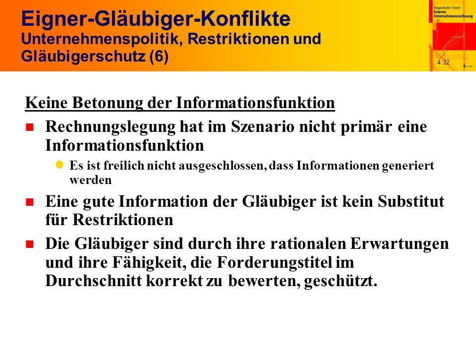 4.32 Eigner-Gläubiger-Konflikte Unternehmenspolitik, Restriktionen und Gläubigerschutz (6) Keine Betonung der Informationsfunktion n Rechnungslegung h