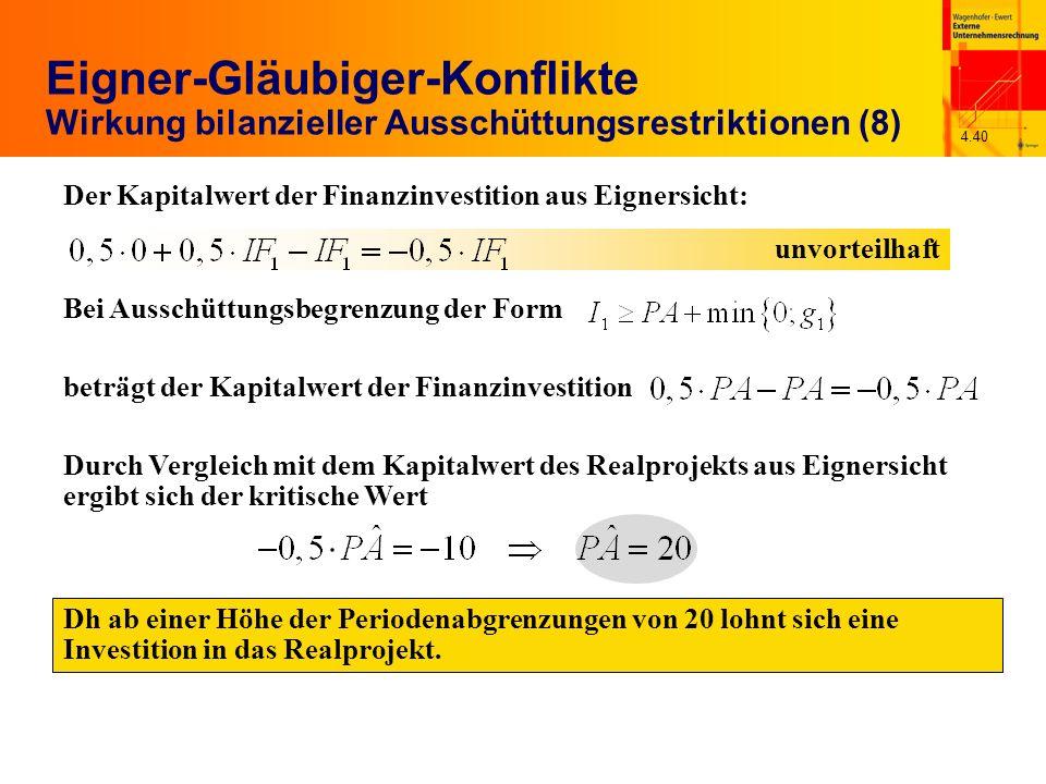 4.40 Eigner-Gläubiger-Konflikte Wirkung bilanzieller Ausschüttungsrestriktionen (8) Dh ab einer Höhe der Periodenabgrenzungen von 20 lohnt sich eine I