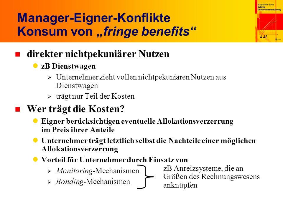 4.48 Manager-Eigner-Konflikte Konsum von fringe benefits n direkter nichtpekuniärer Nutzen zB Dienstwagen Unternehmer zieht vollen nichtpekuniären Nut