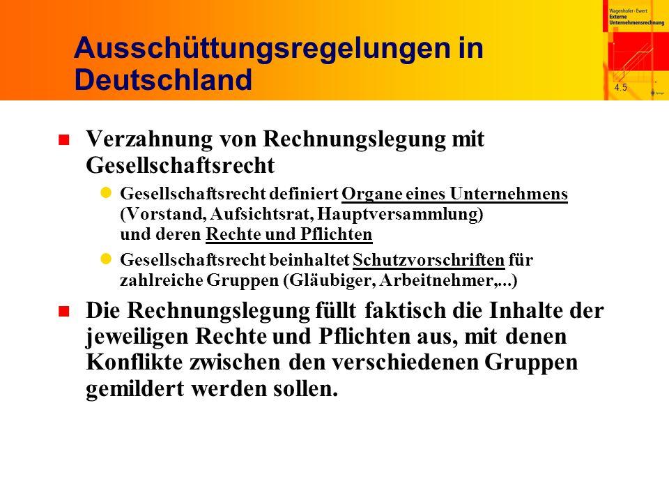 4.5 Ausschüttungsregelungen in Deutschland n Verzahnung von Rechnungslegung mit Gesellschaftsrecht Gesellschaftsrecht definiert Organe eines Unternehm