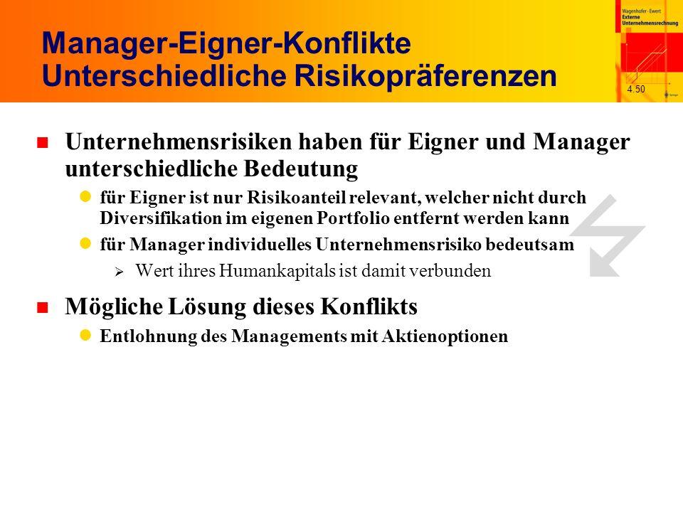 4.50 n Mögliche Lösung dieses Konflikts Entlohnung des Managements mit Aktienoptionen Manager-Eigner-Konflikte Unterschiedliche Risikopräferenzen n Un