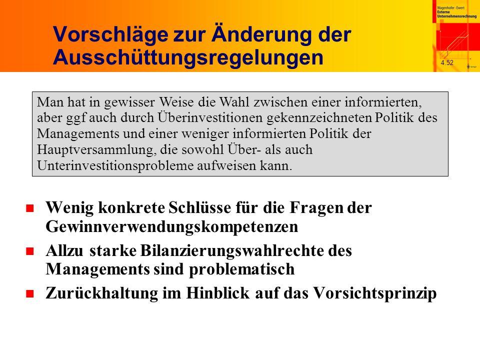 4.52 Vorschläge zur Änderung der Ausschüttungsregelungen n Wenig konkrete Schlüsse für die Fragen der Gewinnverwendungskompetenzen n Allzu starke Bila