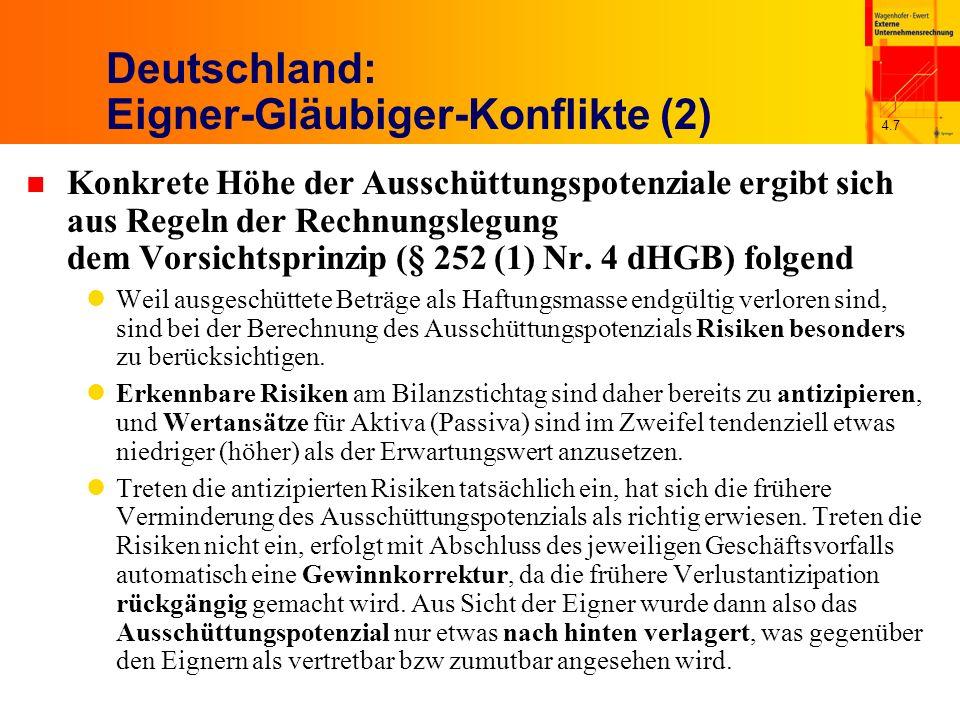 4.7 Deutschland: Eigner-Gläubiger-Konflikte (2) n Konkrete Höhe der Ausschüttungspotenziale ergibt sich aus Regeln der Rechnungslegung dem Vorsichtspr