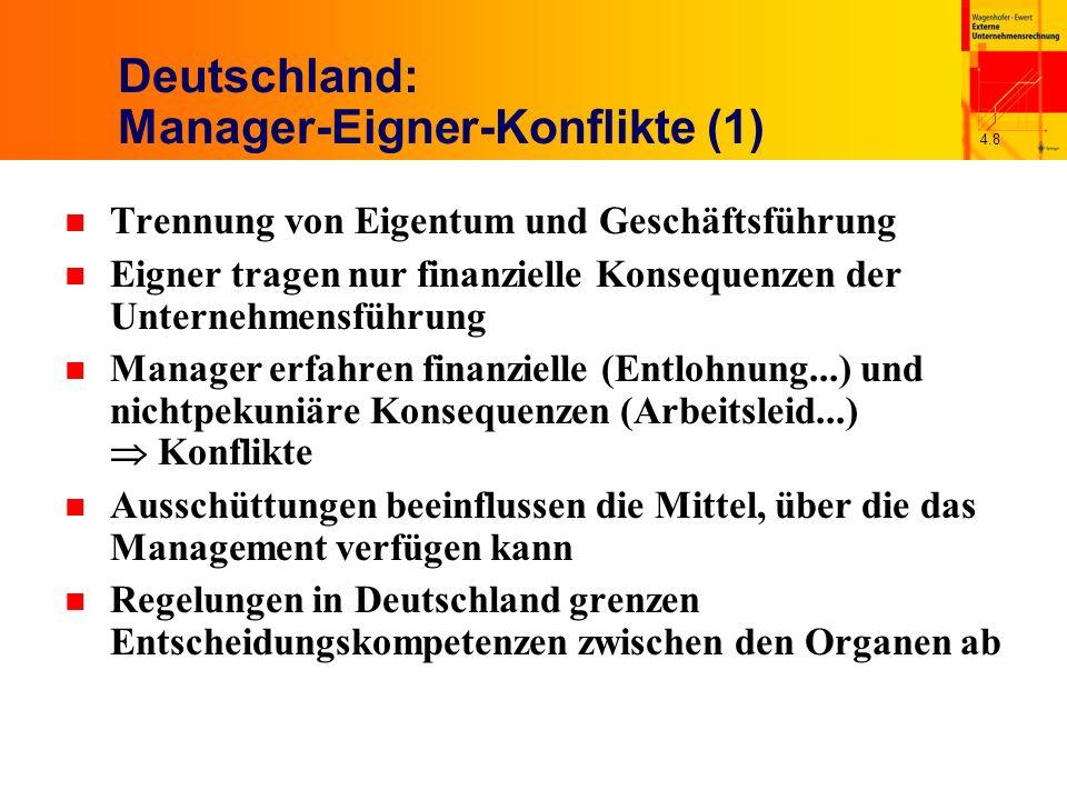 4.8 Deutschland: Manager-Eigner-Konflikte (1) n Trennung von Eigentum und Geschäftsführung n Eigner tragen nur finanzielle Konsequenzen der Unternehmensführung n Manager erfahren finanzielle (Entlohnung...) und nichtpekuniäre Konsequenzen (Arbeitsleid...) Konflikte n Ausschüttungen beeinflussen die Mittel, über die das Management verfügen kann n Regelungen in Deutschland grenzen Entscheidungskompetenzen zwischen den Organen ab