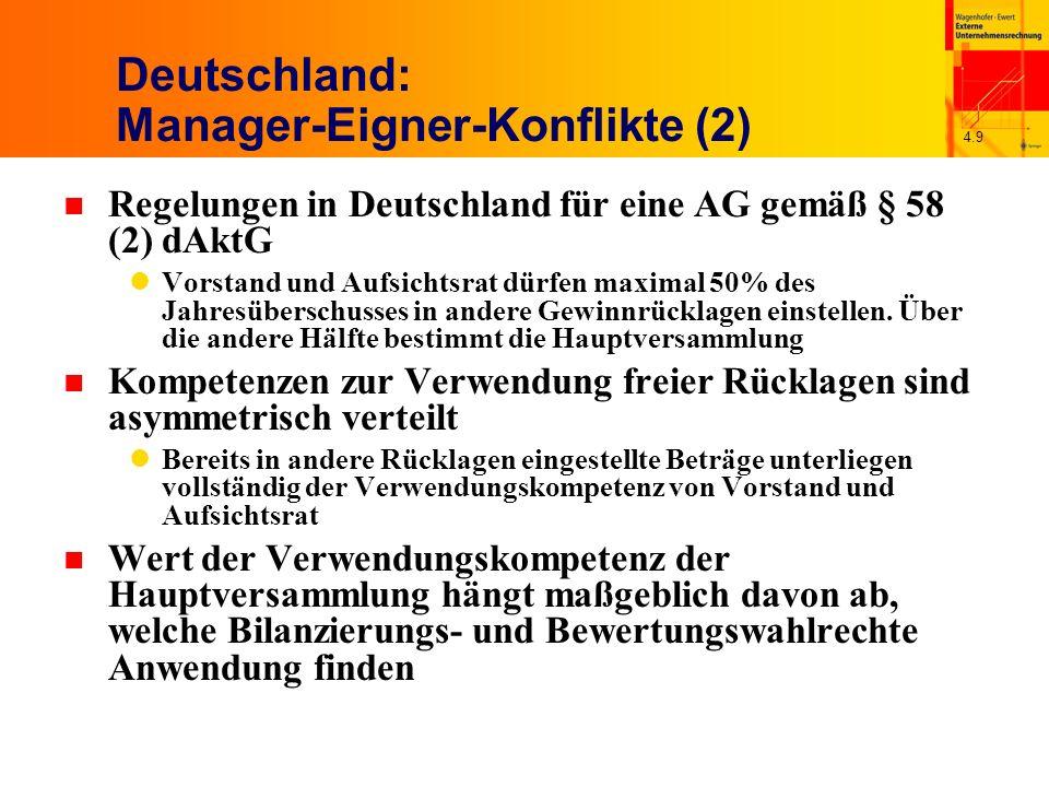 4.9 Deutschland: Manager-Eigner-Konflikte (2) n Regelungen in Deutschland für eine AG gemäß § 58 (2) dAktG Vorstand und Aufsichtsrat dürfen maximal 50% des Jahresüberschusses in andere Gewinnrücklagen einstellen.