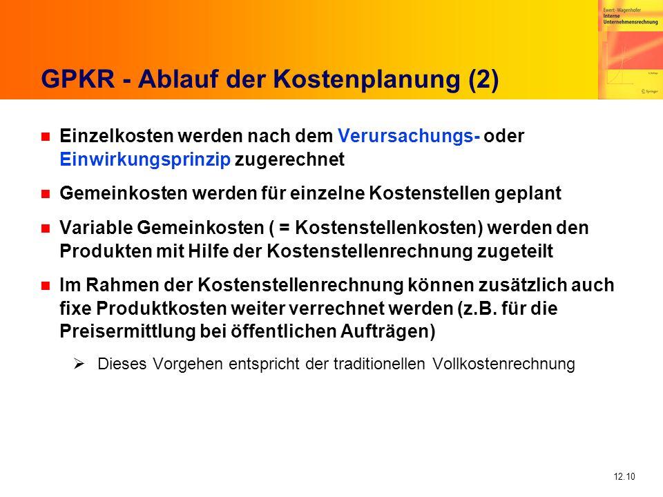 12.10 GPKR - Ablauf der Kostenplanung (2) n Einzelkosten werden nach dem Verursachungs- oder Einwirkungsprinzip zugerechnet n Gemeinkosten werden für
