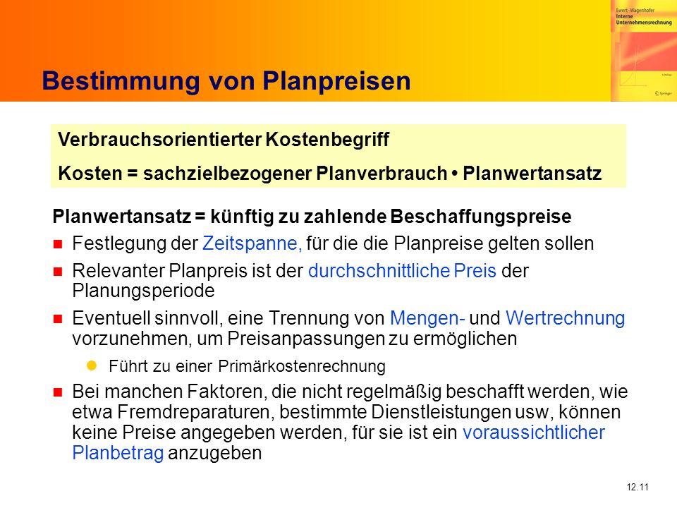 12.11 Bestimmung von Planpreisen Planwertansatz = künftig zu zahlende Beschaffungspreise n Festlegung der Zeitspanne, für die die Planpreise gelten so