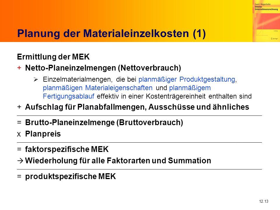 12.13 Planung der Materialeinzelkosten (1) Ermittlung der MEK +Netto-Planeinzelmengen (Nettoverbrauch) Einzelmaterialmengen, die bei planmäßiger Produktgestaltung, planmäßigen Materialeigenschaften und planmäßigem Fertigungsablauf effektiv in einer Kostenträgereinheit enthalten sind +Aufschlag für Planabfallmengen, Ausschüsse und ähnliches ____________________________________________________________________________________________________________________________________________ =Brutto-Planeinzelmenge (Bruttoverbrauch) xPlanpreis ____________________________________________________________________________________________________________________________________________ =faktorspezifische MEK Wiederholung für alle Faktorarten und Summation ____________________________________________________________________________________________________________________________________________ =produktspezifische MEK