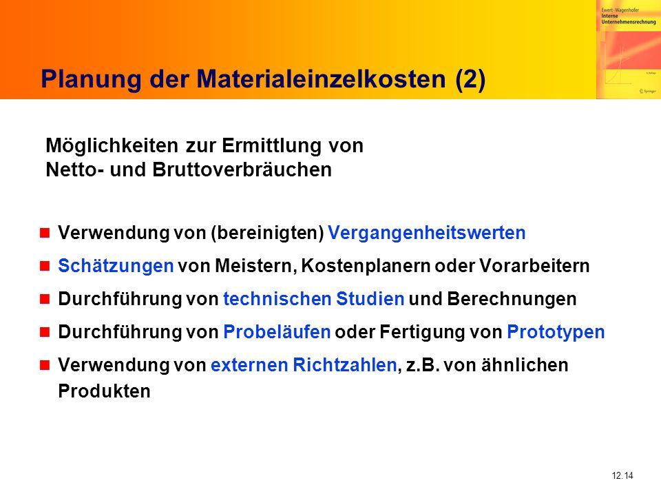 12.14 Planung der Materialeinzelkosten (2) n Verwendung von (bereinigten) Vergangenheitswerten n Schätzungen von Meistern, Kostenplanern oder Vorarbei