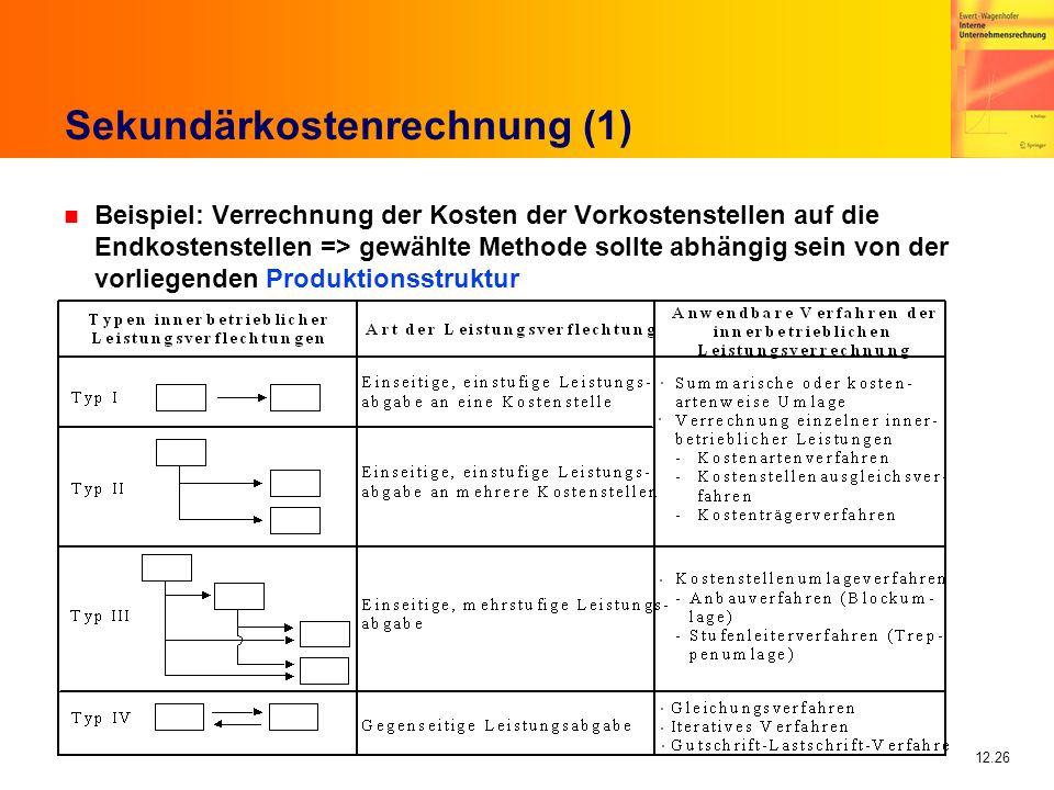 12.26 Sekundärkostenrechnung (1) n Beispiel: Verrechnung der Kosten der Vorkostenstellen auf die Endkostenstellen => gewählte Methode sollte abhängig sein von der vorliegenden Produktionsstruktur