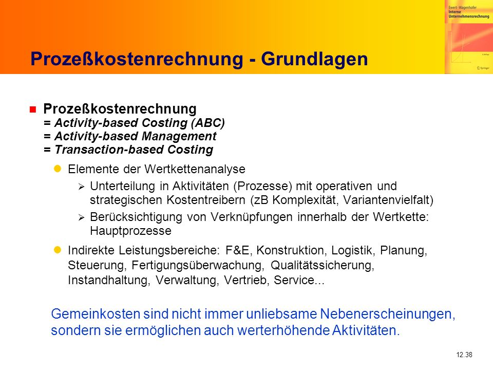 12.38 Prozeßkostenrechnung - Grundlagen n Prozeßkostenrechnung = Activity-based Costing (ABC) = Activity-based Management = Transaction-based Costing