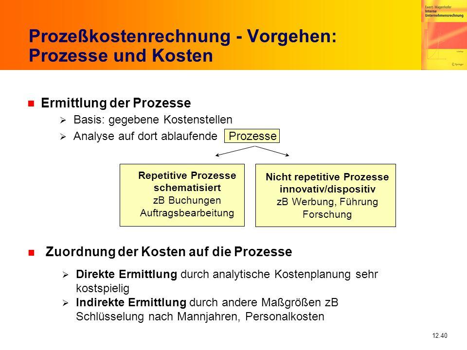 12.40 Prozeßkostenrechnung - Vorgehen: Prozesse und Kosten n Ermittlung der Prozesse Basis: gegebene Kostenstellen Analyse auf dort ablaufende Prozess