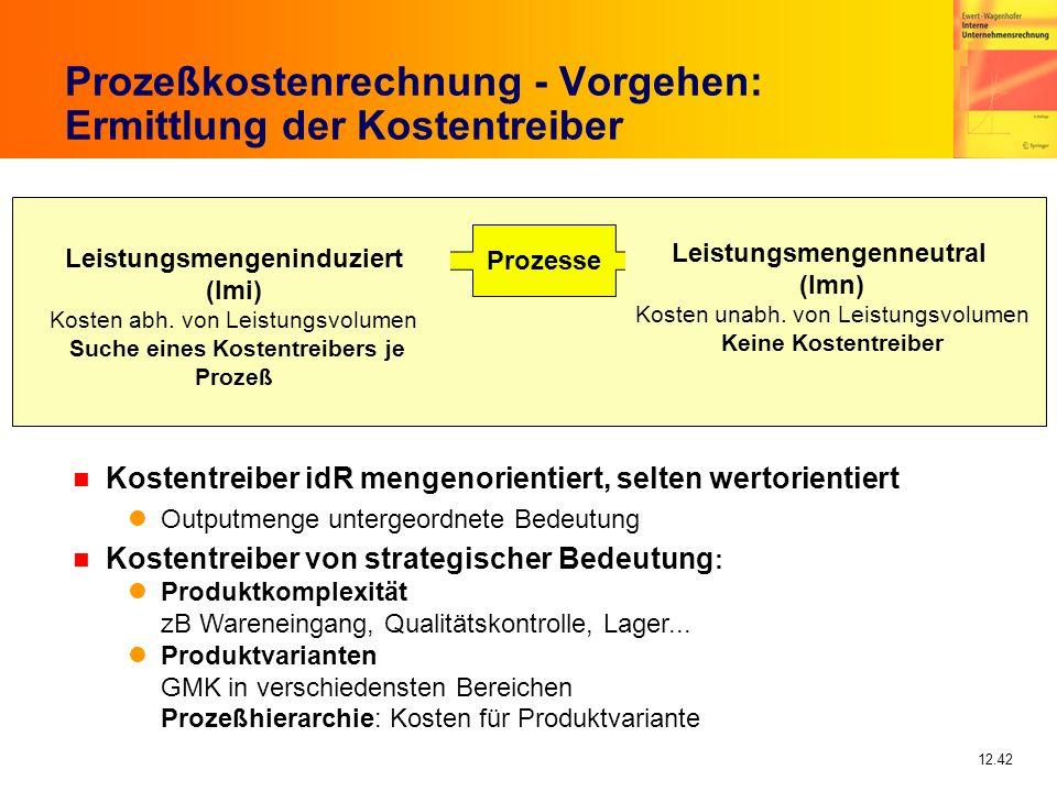 12.42 Prozeßkostenrechnung - Vorgehen: Ermittlung der Kostentreiber Prozesse Leistungsmengenneutral (lmn) Kosten unabh. von Leistungsvolumen Keine Kos