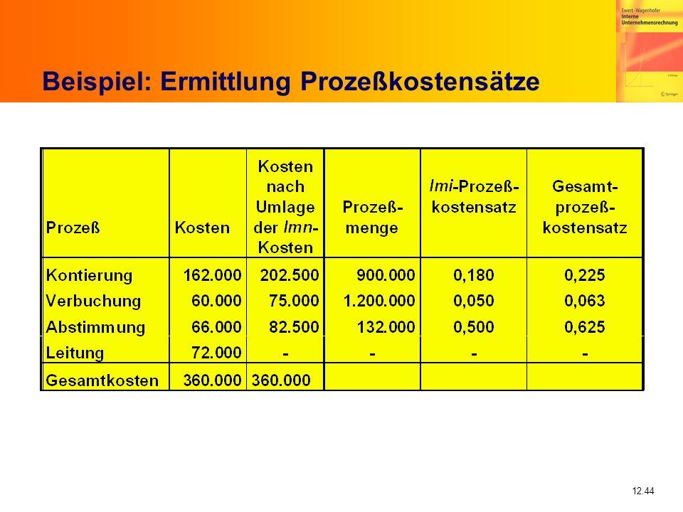 12.44 Beispiel: Ermittlung Prozeßkostensätze