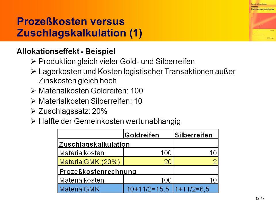 12.47 Prozeßkosten versus Zuschlagskalkulation (1) Allokationseffekt - Beispiel Produktion gleich vieler Gold- und Silberreifen Lagerkosten und Kosten