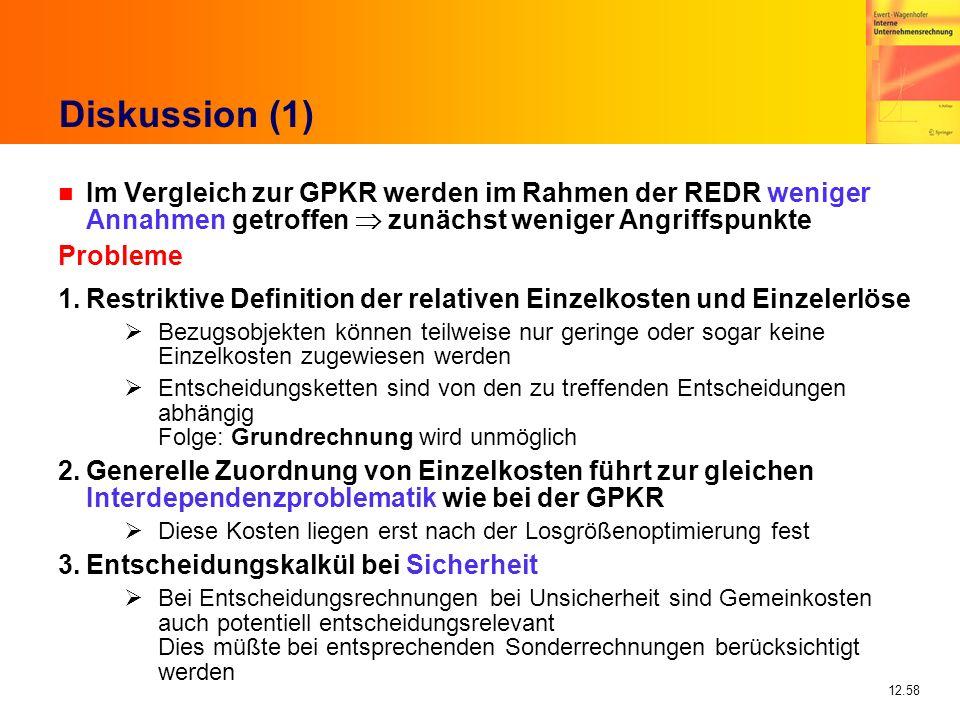 12.58 Diskussion (1) n Im Vergleich zur GPKR werden im Rahmen der REDR weniger Annahmen getroffen zunächst weniger Angriffspunkte Probleme 1.Restrikti
