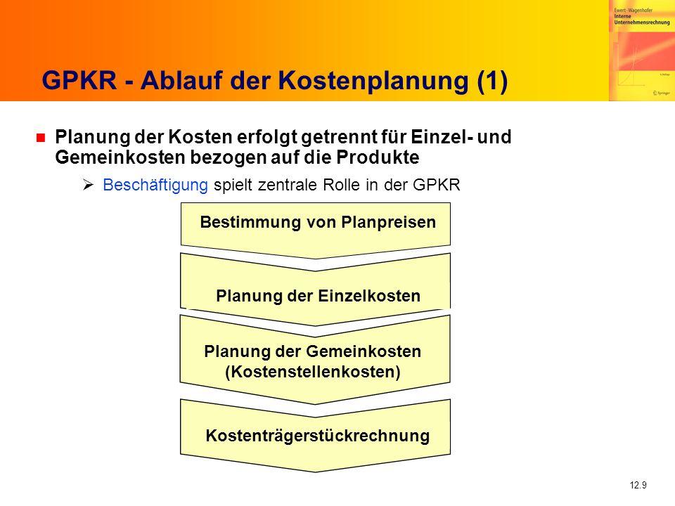 12.9 GPKR - Ablauf der Kostenplanung (1) n Planung der Kosten erfolgt getrennt für Einzel- und Gemeinkosten bezogen auf die Produkte Beschäftigung spielt zentrale Rolle in der GPKR Bestimmung von Planpreisen Planung der Einzelkosten Planung der Gemeinkosten (Kostenstellenkosten) Kostenträgerstückrechnung