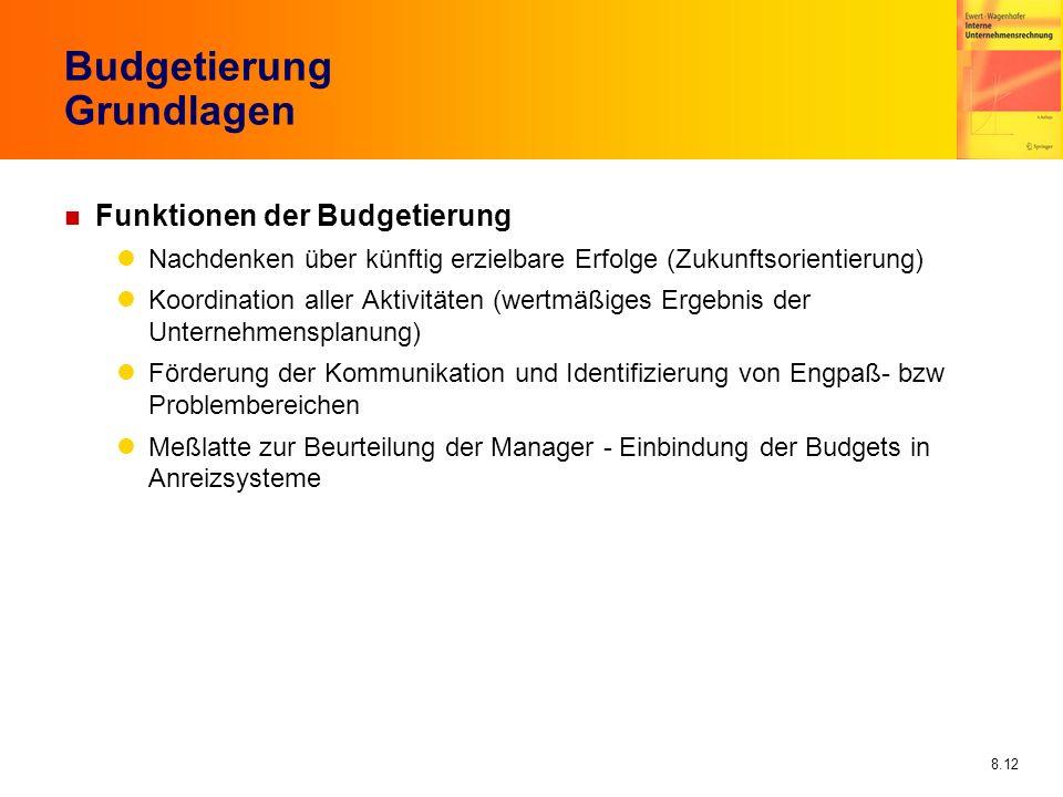 8.12 Budgetierung Grundlagen n Funktionen der Budgetierung Nachdenken über künftig erzielbare Erfolge (Zukunftsorientierung) Koordination aller Aktivi