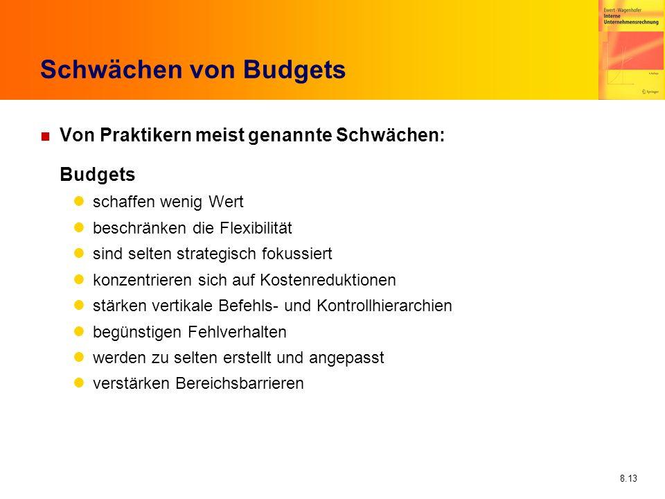 8.13 Schwächen von Budgets n Von Praktikern meist genannte Schwächen: Budgets schaffen wenig Wert beschränken die Flexibilität sind selten strategisch
