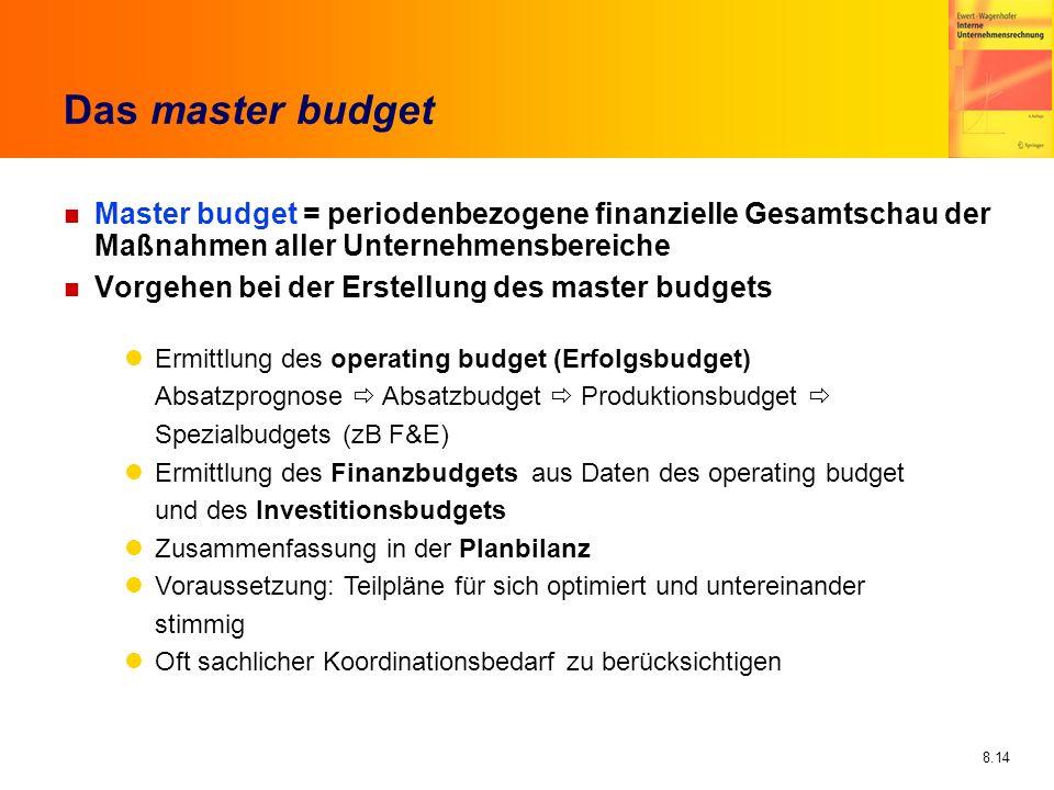 8.14 Das master budget n Master budget = periodenbezogene finanzielle Gesamtschau der Maßnahmen aller Unternehmensbereiche n Vorgehen bei der Erstellu