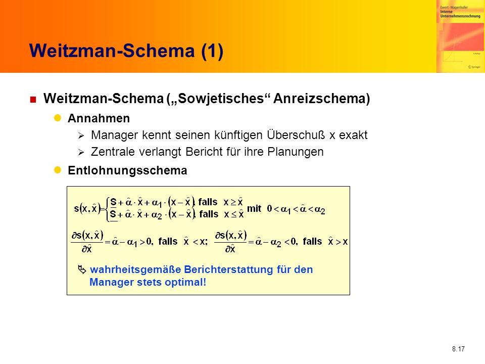 8.17 Weitzman-Schema (1) n Weitzman-Schema (Sowjetisches Anreizschema) Annahmen Manager kennt seinen künftigen Überschuß x exakt Zentrale verlangt Ber