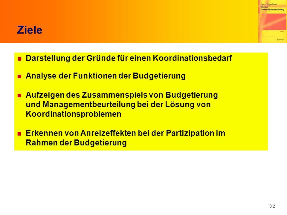 8.2 Ziele n Darstellung der Gründe für einen Koordinationsbedarf n Analyse der Funktionen der Budgetierung n Aufzeigen des Zusammenspiels von Budgetie