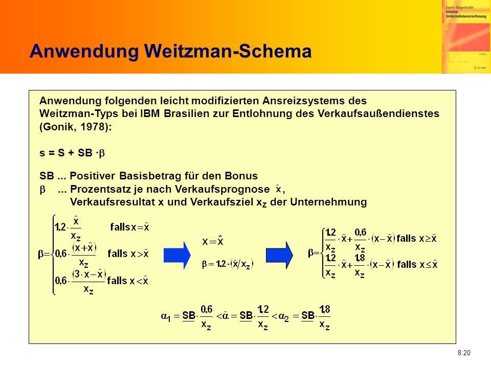 8.20 Anwendung Weitzman-Schema Anwendung folgenden leicht modifizierten Ansreizsystems des Weitzman-Typs bei IBM Brasilien zur Entlohnung des Verkaufs